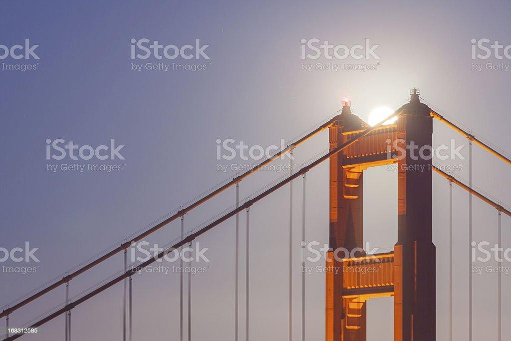 Golden Gate Bridge,Full moon and San Francisco Skyline royalty-free stock photo