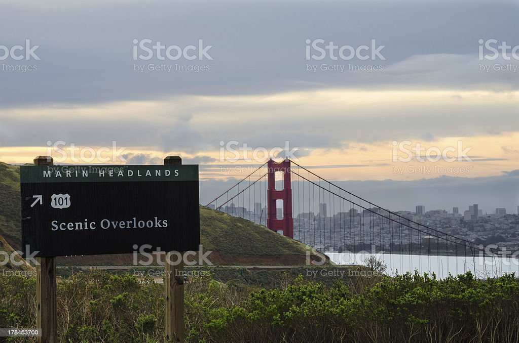Golden Gate from the Marin Headlands at Sunrise royalty-free stock photo