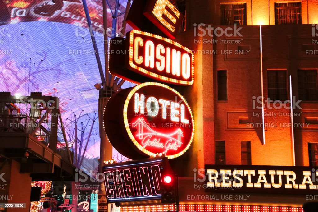 Golden Gate Hotel & Casino sign illuminated by night stock photo