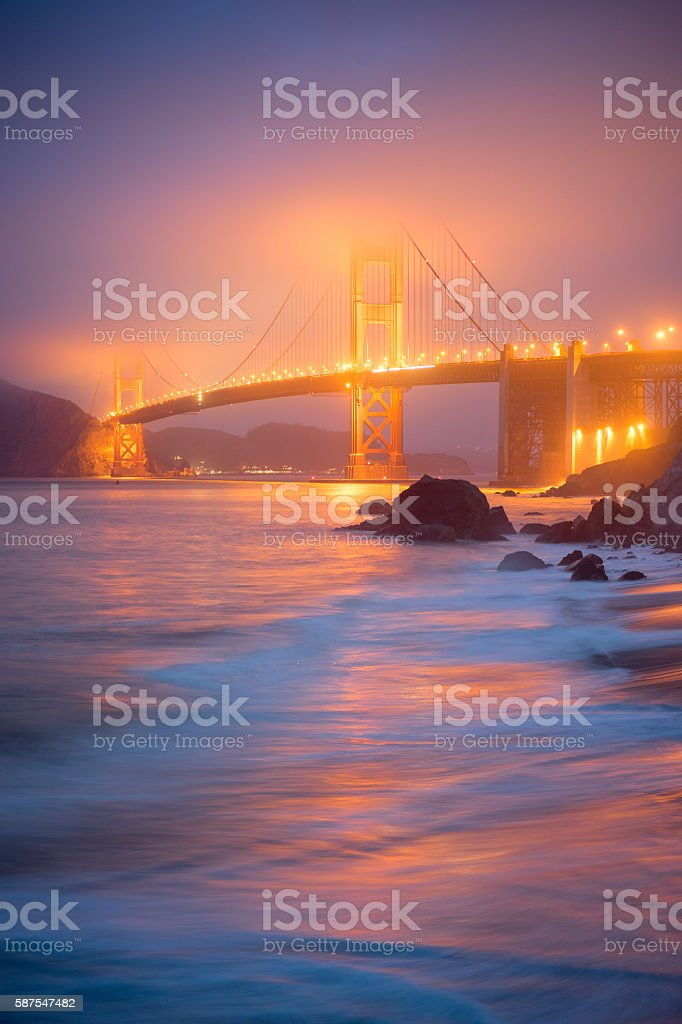 Golden Gate in Fog from Mashall Beach royalty-free stock photo