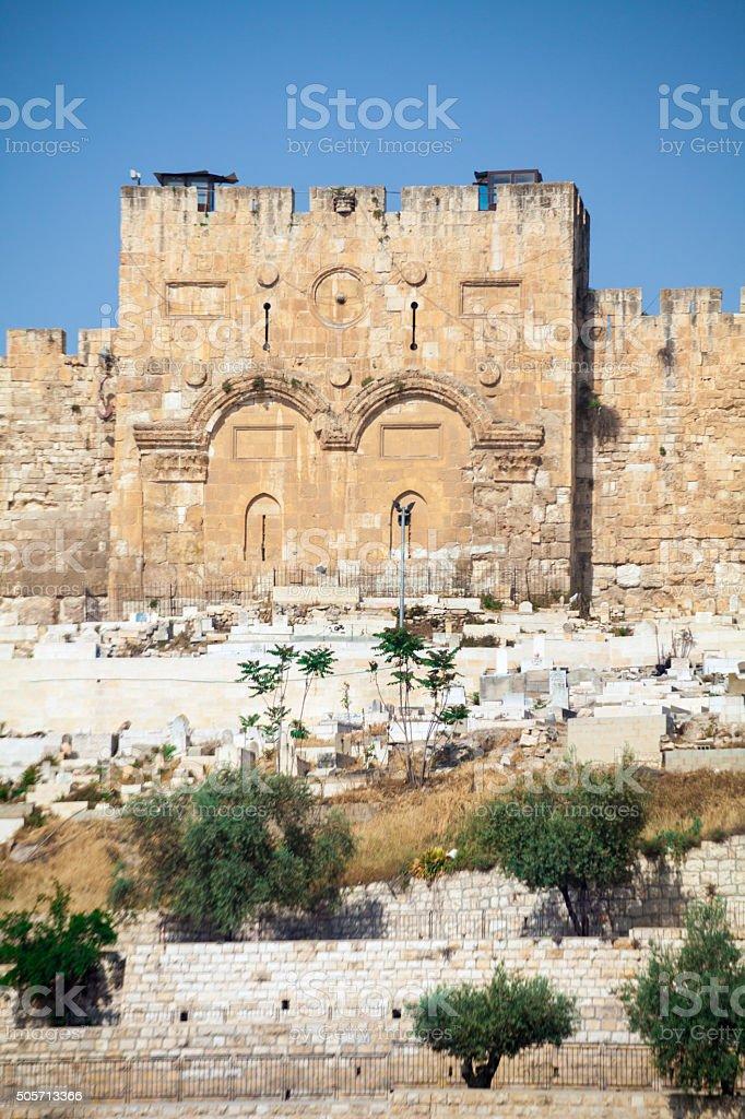 Golden gate of Jerusalem. stock photo