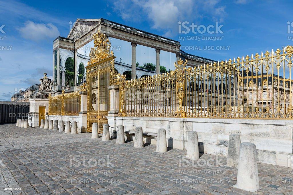 Golden gate of Palace Versailles near Paris, France stock photo