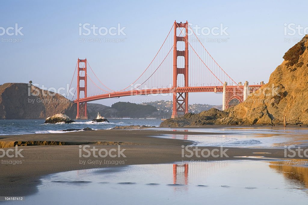 Golden Gate Reflection - Horizontal royalty-free stock photo