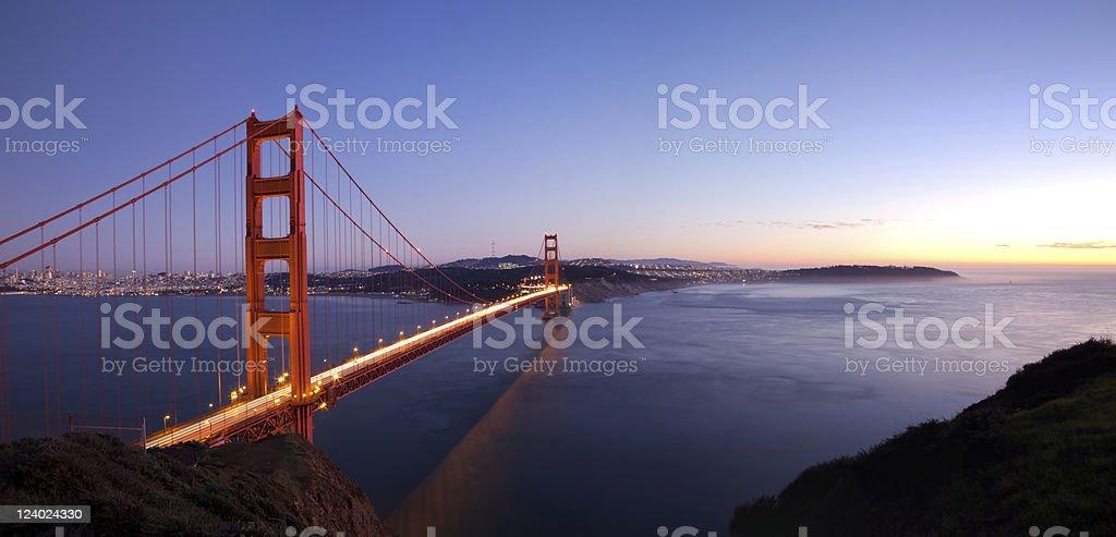 Golden Gate sunset panorama royalty-free stock photo