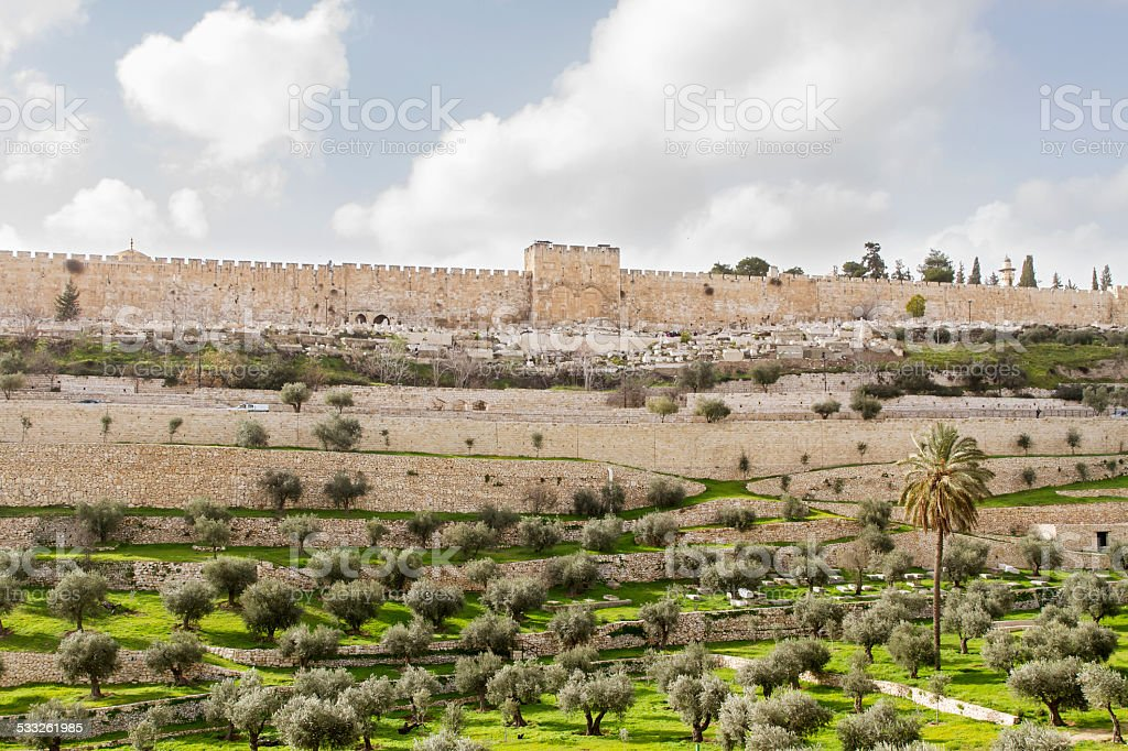 Golden gate to old Jerusalem city . stock photo