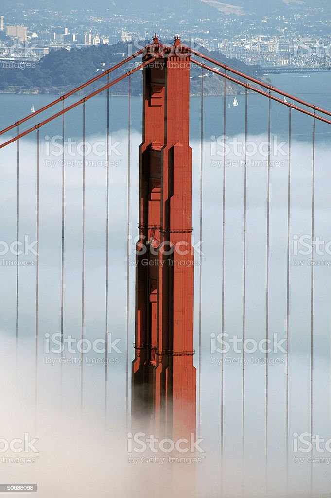 Golden gate under fog 5 royalty-free stock photo