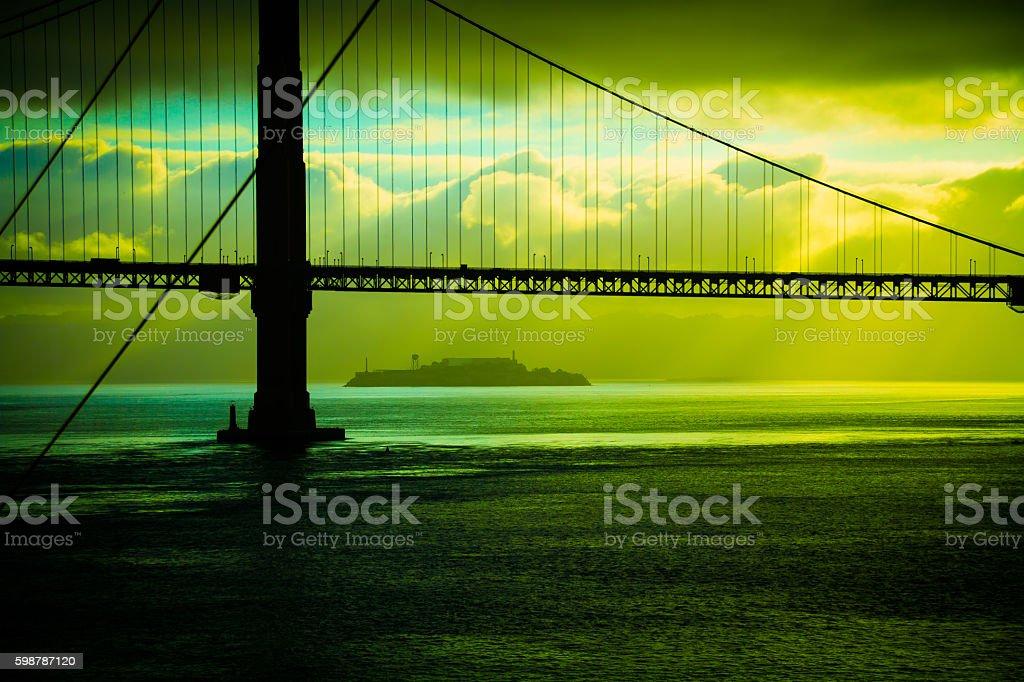 Golden GateBridge and Alcatraz stock photo