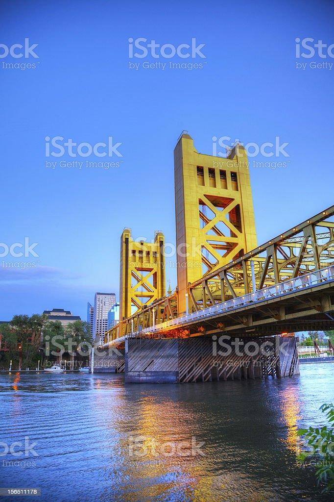 Golden Gates drawbridge in Sacramento stock photo