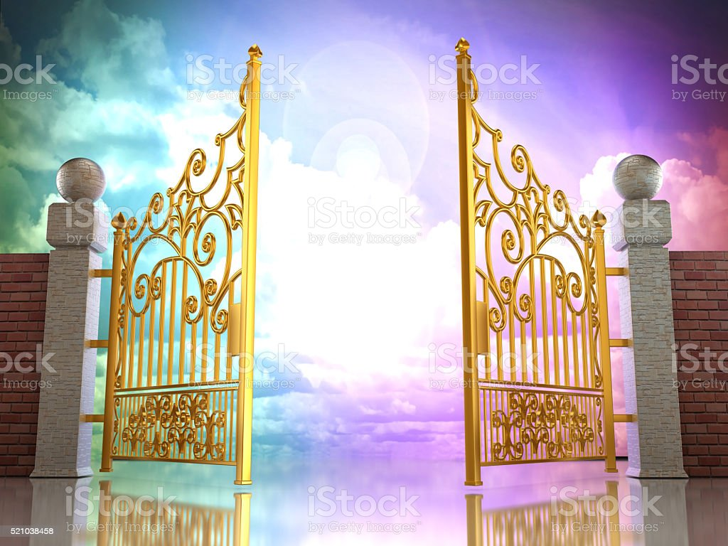Golden gates opening to heavenly sky background stock photo