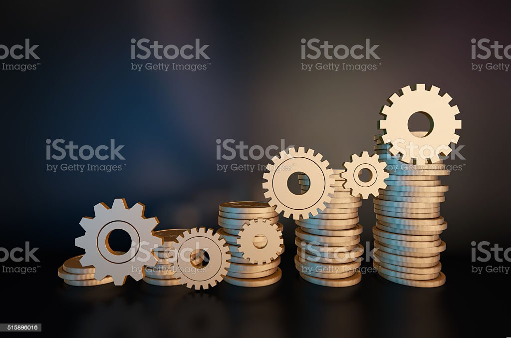Golden gear and gold COINS stock photo