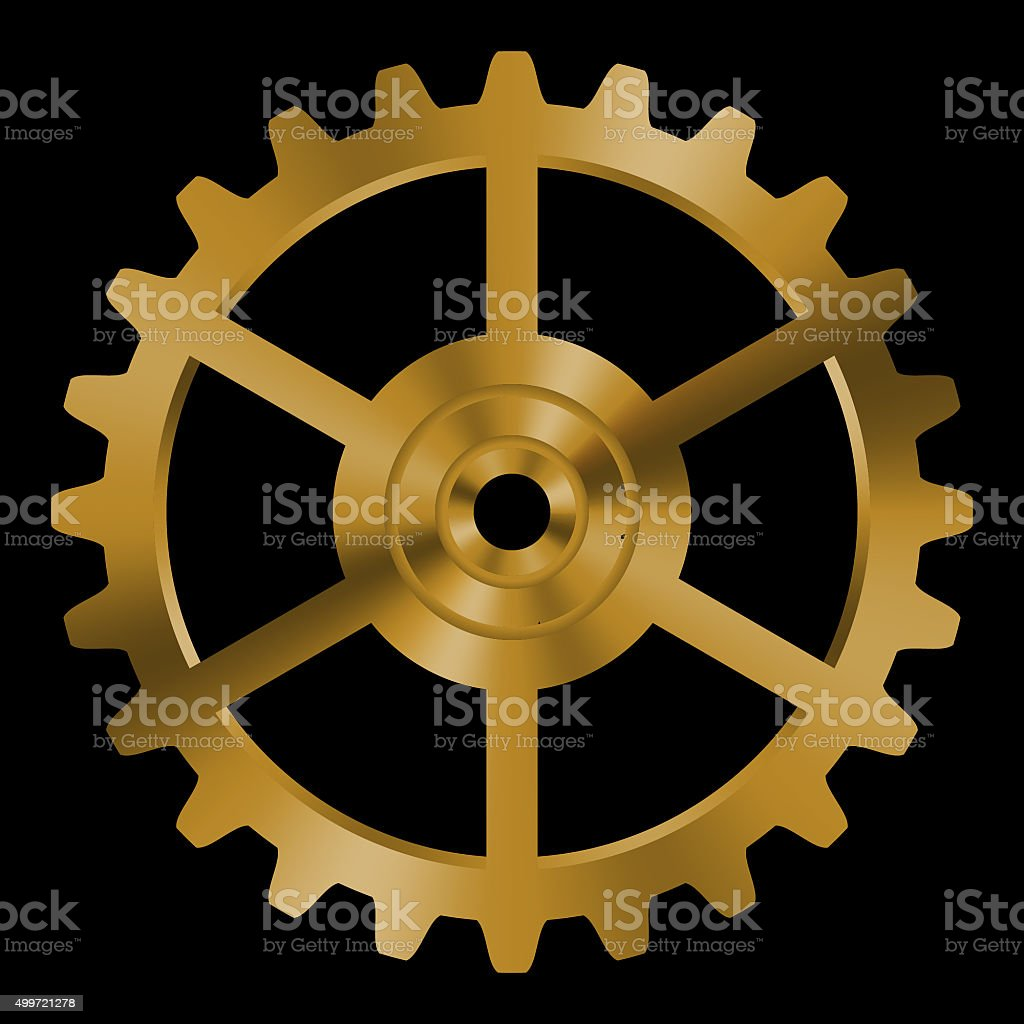 Golden gear on black background. stock photo