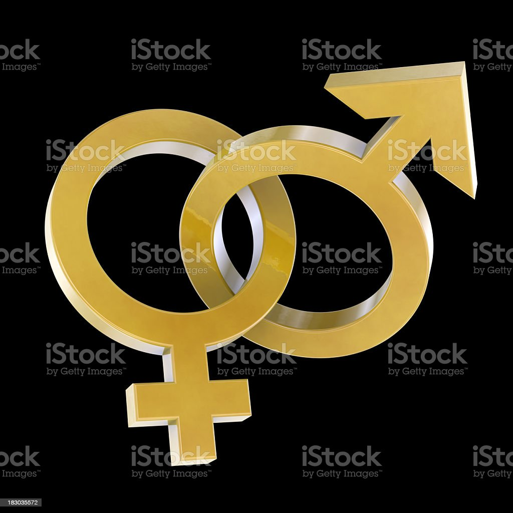Golden gender symbols royalty-free stock photo