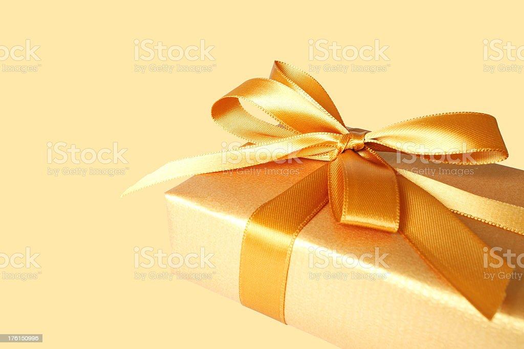 Golden Gift Box royalty-free stock photo