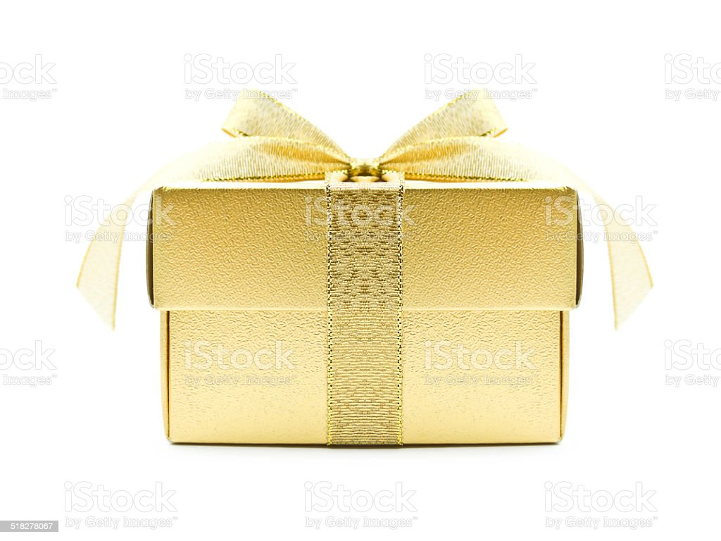 Golden gift box with golden ribbon stock photo
