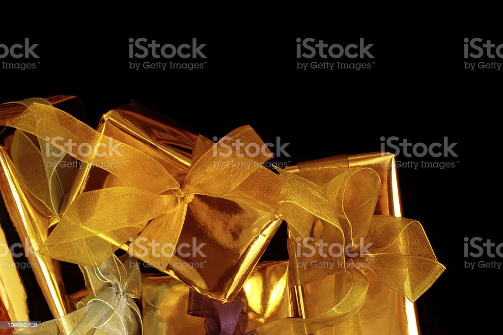 golden gift boxes royalty-free stock photo