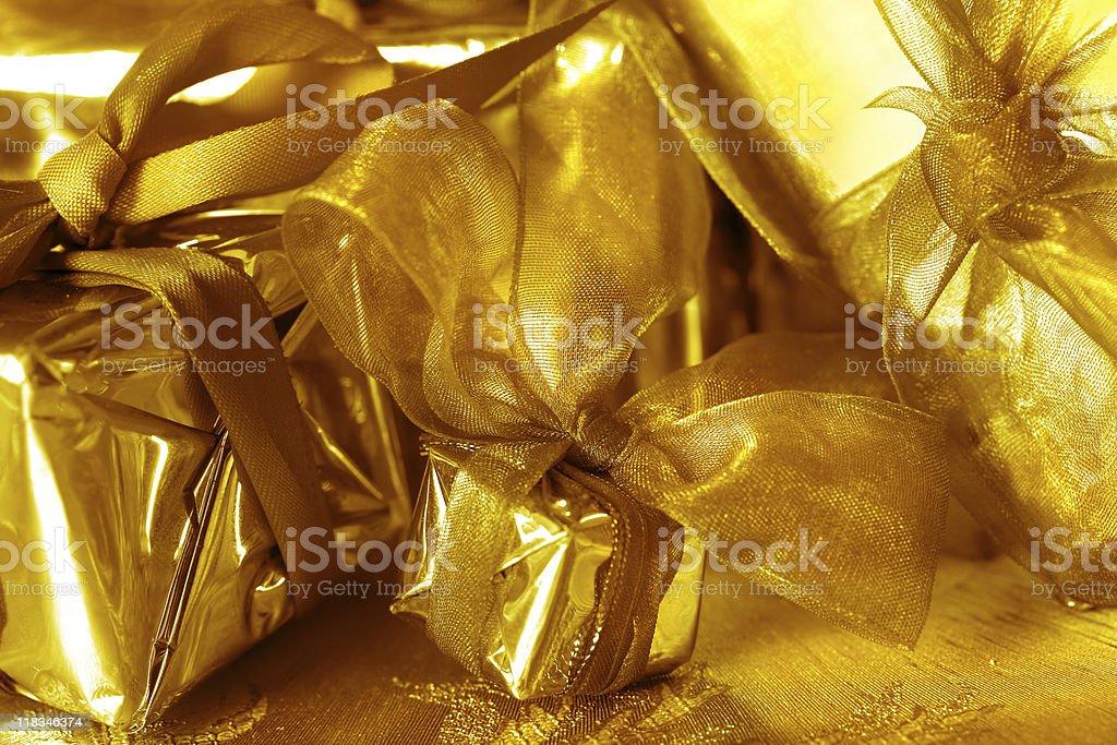 golden gift boxes stock photo