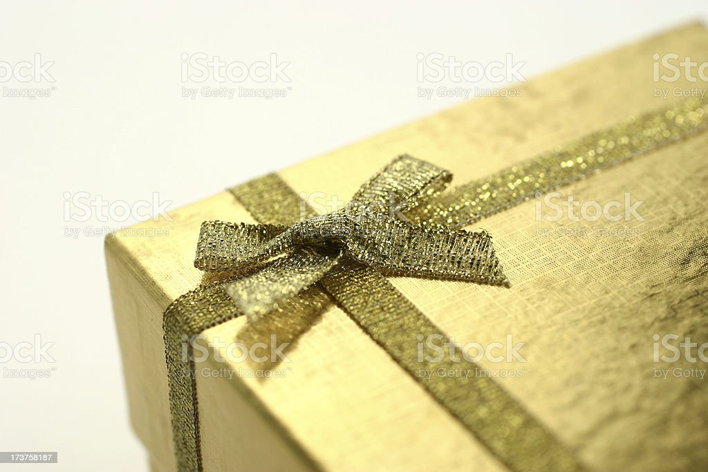 Golden Gift Ribbon & Bow royalty-free stock photo