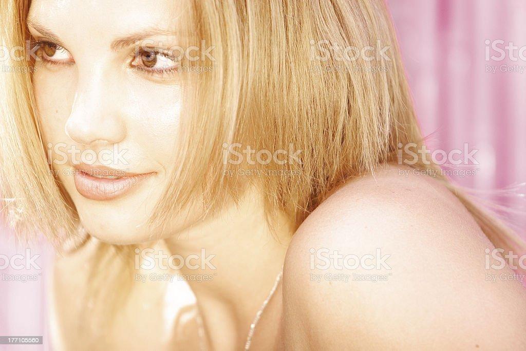 Golden girl stock photo