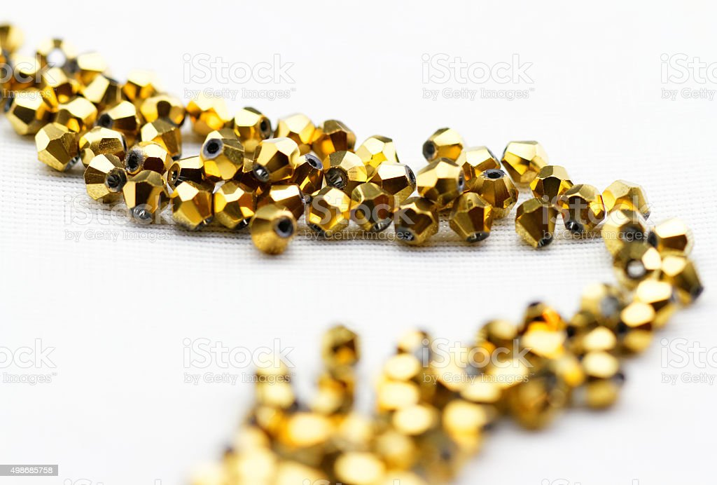 Golden glass beads stock photo