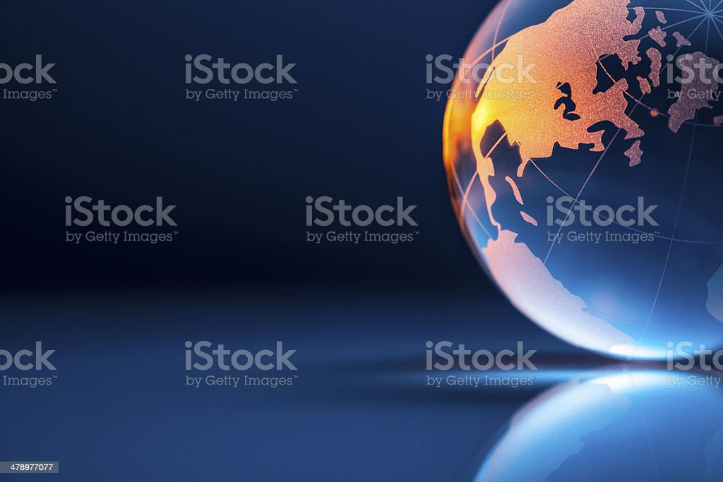 Golden Glass World Globe - Earth Backgrounds Global stock photo