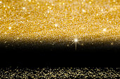 Golden Glitter on Black background.