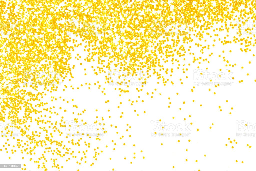 golden  glitter sparkle on white stock photo
