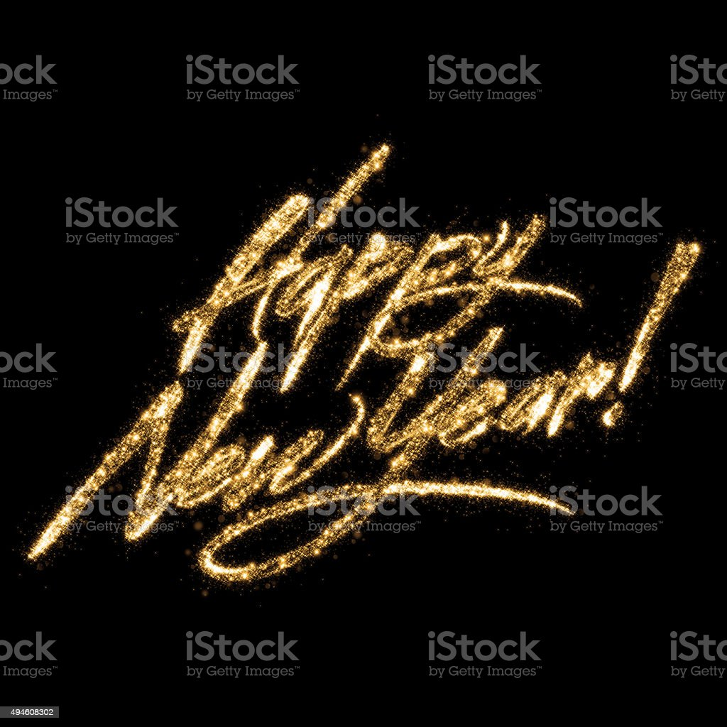 Golden Glittering Writing Happy New Year stock photo