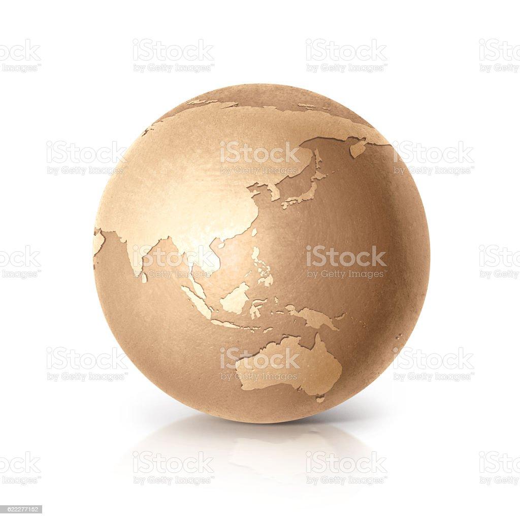 Golden globe 3D illustration Asia & Australia map stock photo