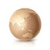Golden globe 3D illustration Asia & Australia map