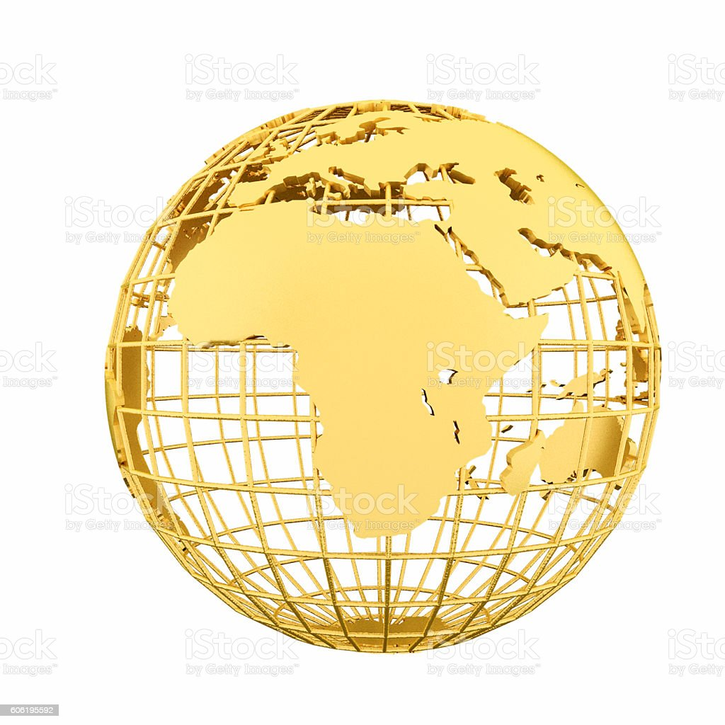 Golden globe of the Earth stock photo