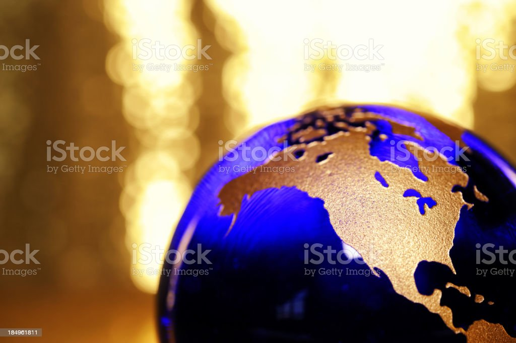 Golden globe showing North America royalty-free stock photo