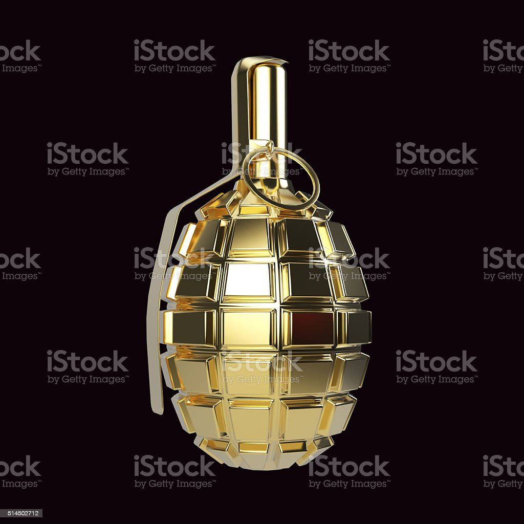 Golden glossy metal hand grenade isolated on red background  render stock photo