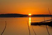 Golden glow over the water