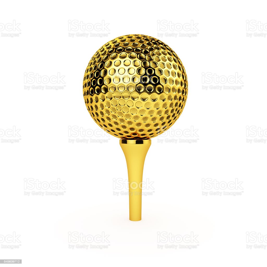 Golden Golf Ball and Tee stock photo