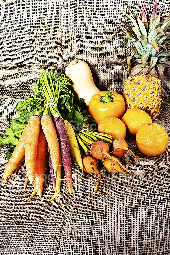 Golden goodness: Beta-carotene rich vegetables and fruit royalty-free stock photo
