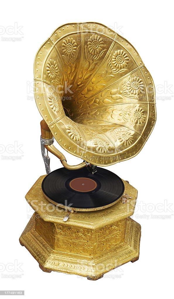 Golden gramophone royalty-free stock photo