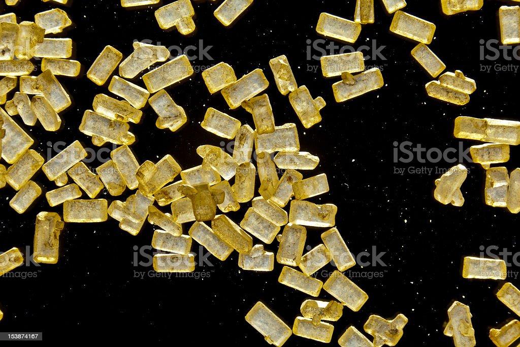 Golden Granulated Sugar Macro stock photo