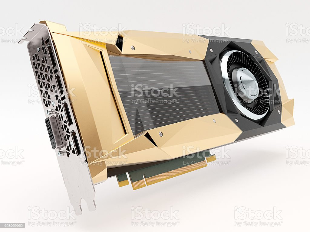 Golden graphic video card on white. 3d illustration stock photo