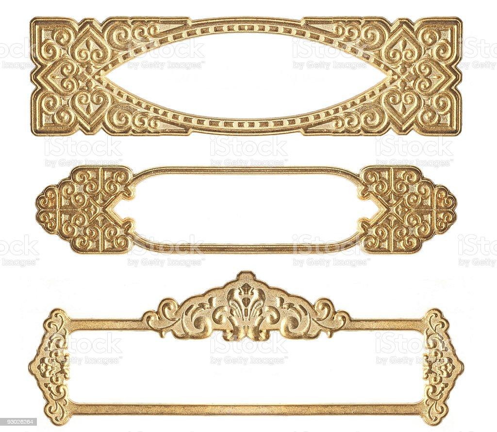 Golden Guilded Horizontal Frames royalty-free stock photo