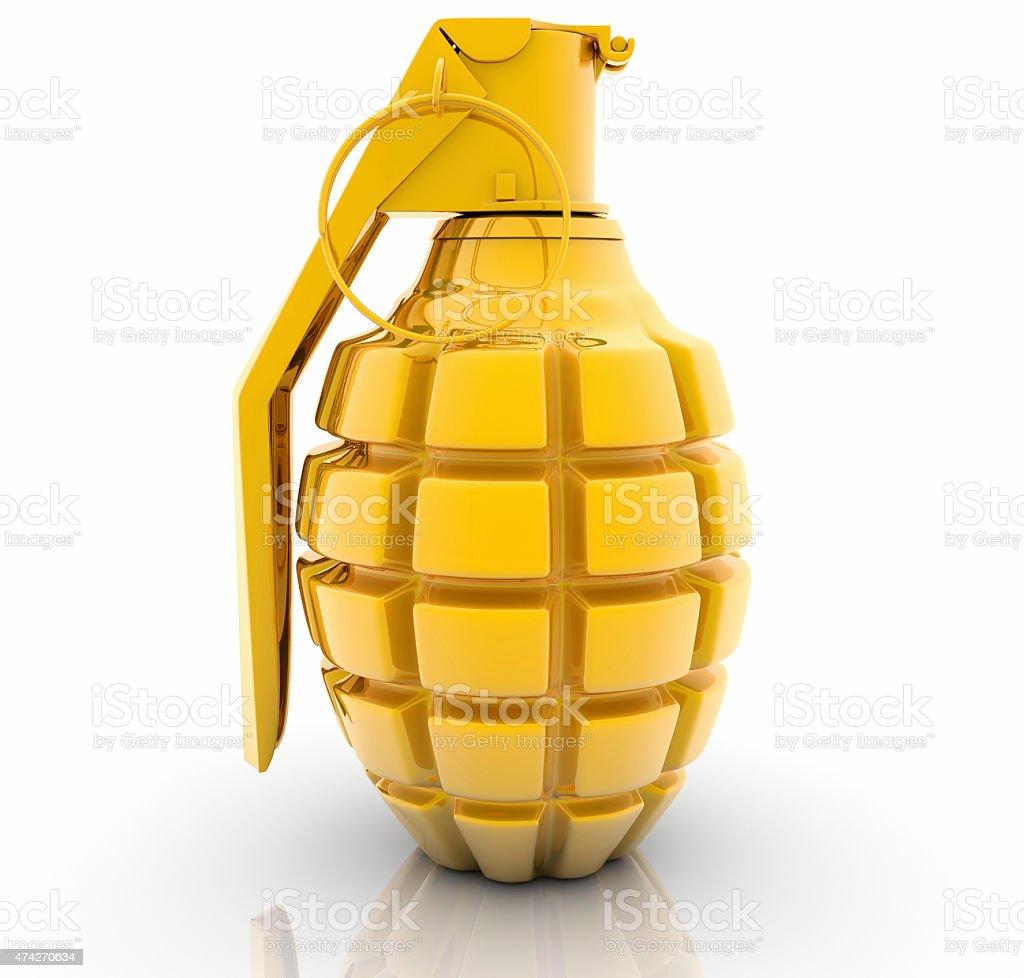 Golden Hand grenade on white background stock photo