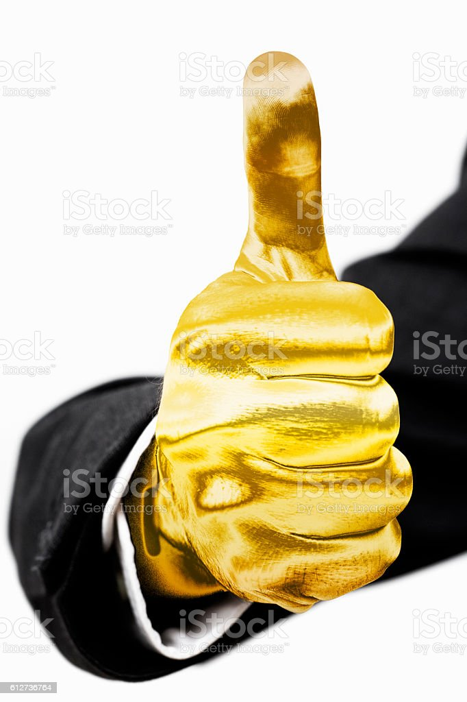 Golden hand stock photo