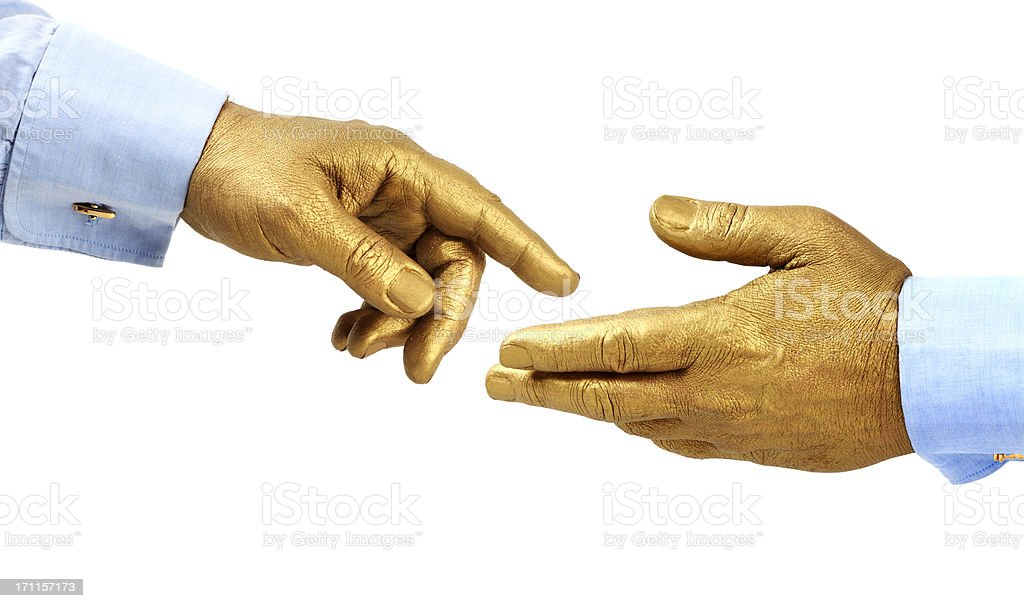 Golden Hand Serie. The Midas Touch stock photo