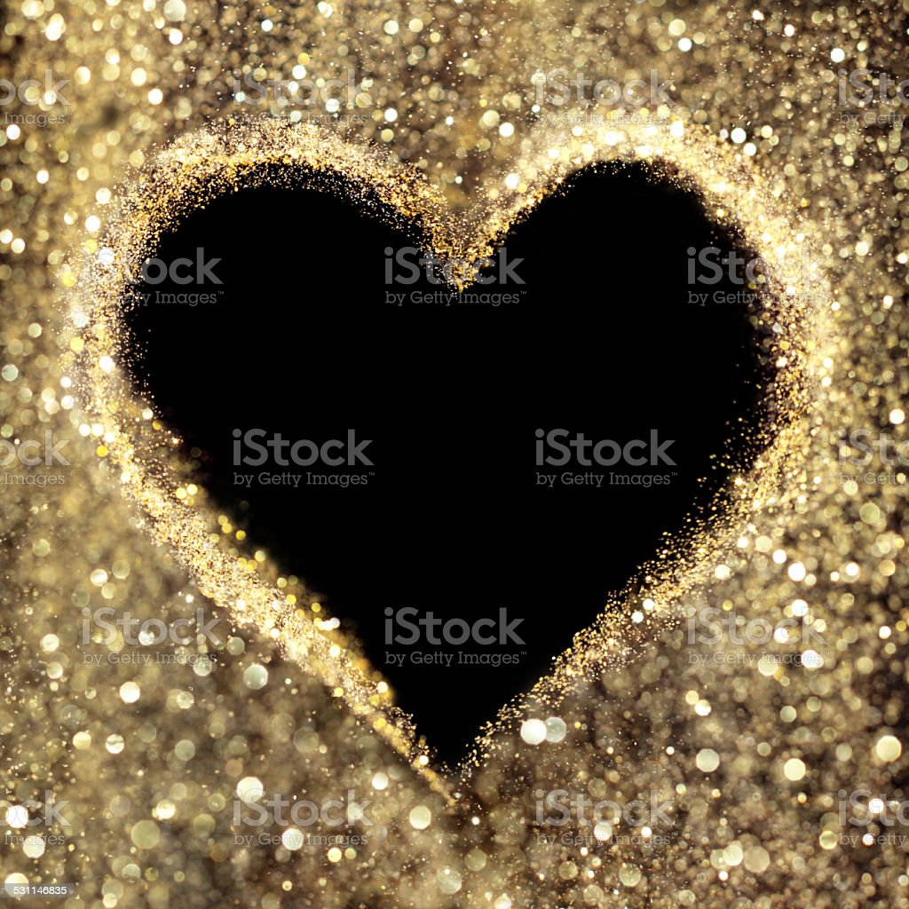 Golden heart copy space stock photo