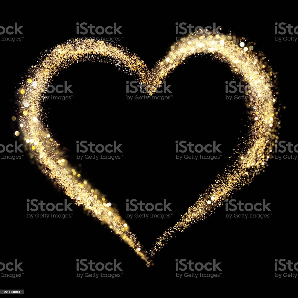 Golden heart frame stock photo
