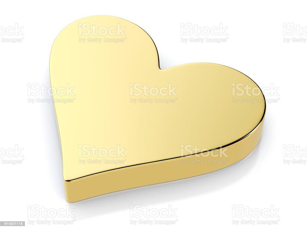Golden heart symbol stock photo