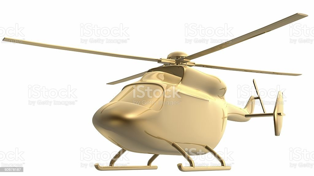 golden helicopter stock photo