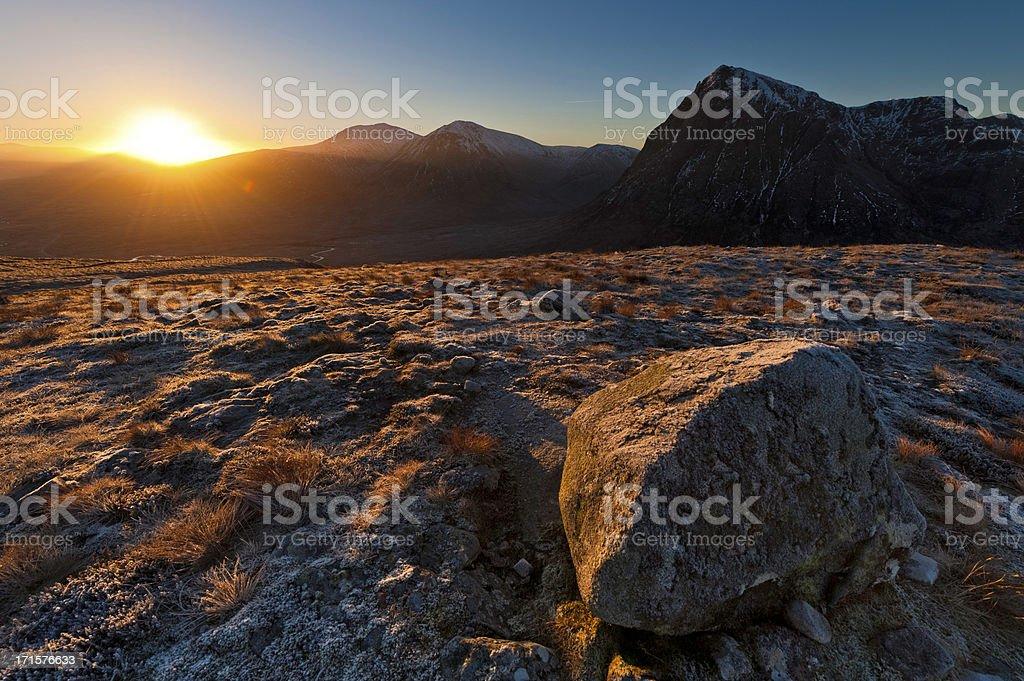 Golden Highland dawn Glencoe mountain sunrise Buachaille Etive Mòr Scotland royalty-free stock photo