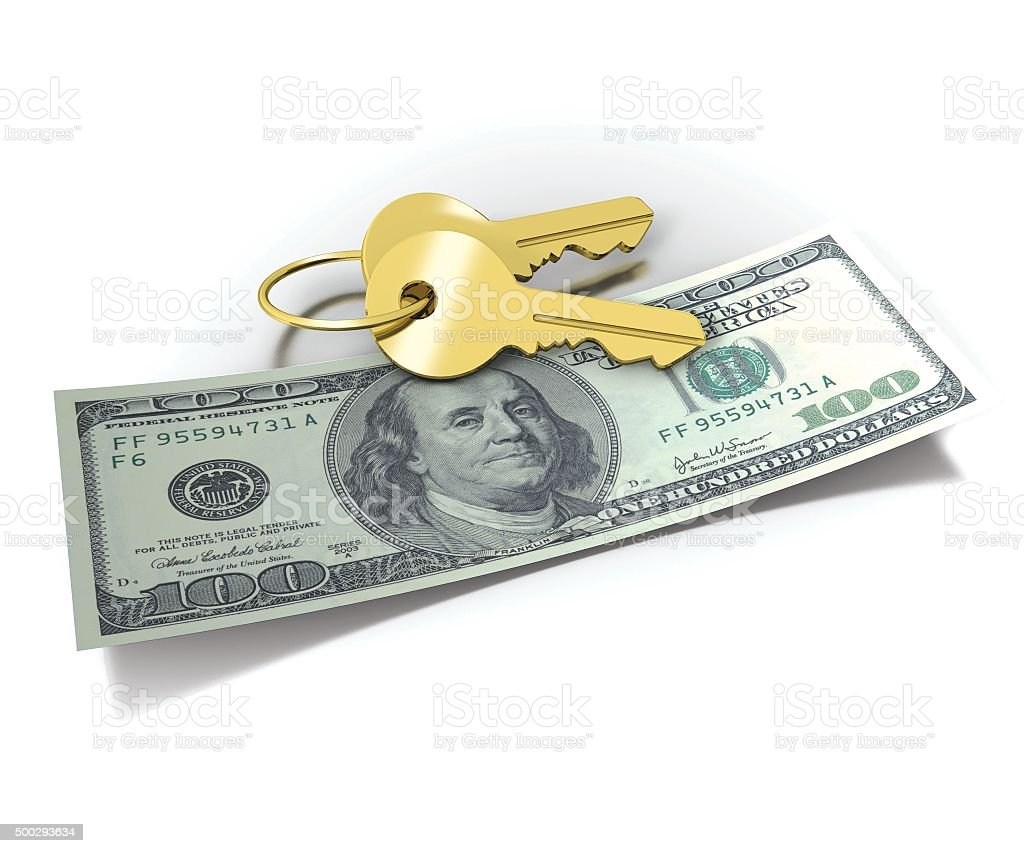 Golden Home Keys and Money stock photo