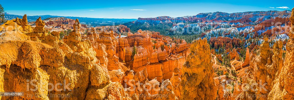 Golden hoodoos of Bryce Canyon National Park iconic wilderness Utah stock photo