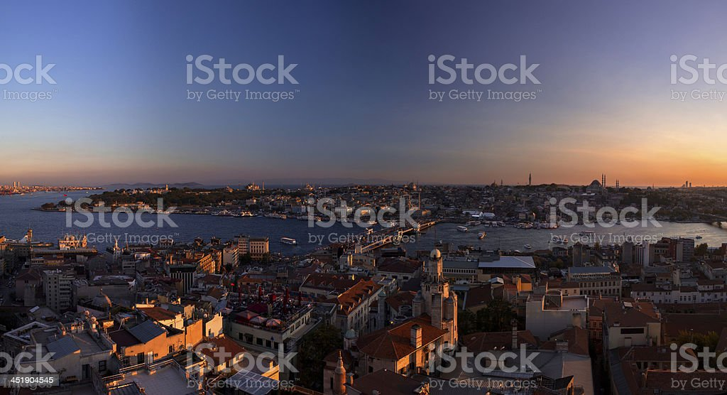Golden Horn and Polarized Sky Panorama royalty-free stock photo